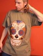 Tshirt XL khaki nadruk DIY meksykańska czaszka