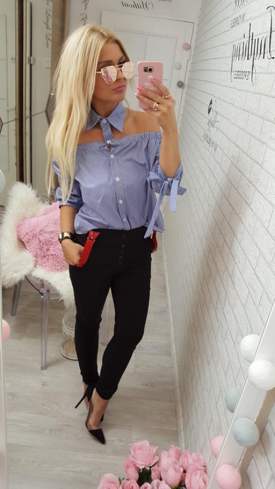 Mój styl bluzeczka kratka kolnierzyk spain spodnie szelki