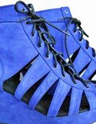 Niebieskie kobaltowe koturny sandały H&M Divided
