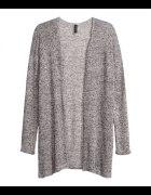 Cienki sweter kardigan szary pieprz sół H&M M L
