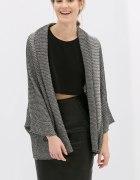 Dwukolorowy otulający kardigan sweter ZARA szary M