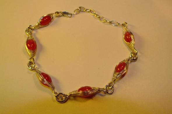 Bransoletki srebrna bransoletka Apart z różowym agatem unikat