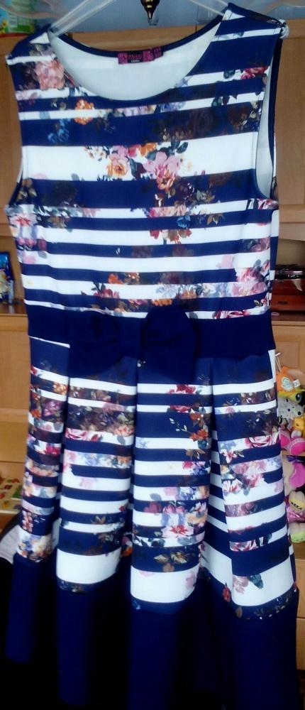Suknie i sukienki Granatowa w białe paski