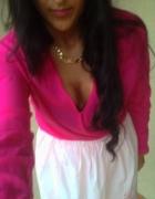 bluzka kopertowa róż neonowa
