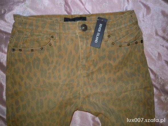 River Island spodnie panterka XS wysoki stan skinn...