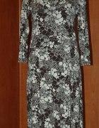 Sukienka biało brązowa 42