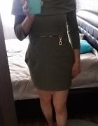 Sukienka khaki zielona kieszenie tunika