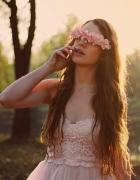 opaska w kwiaty róże pudrowe h&m