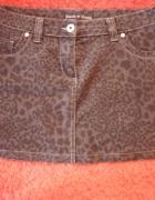 Czarna panterka spódniczka mini jeans