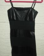 Czarna sukienka ze wstawkami ze skóry