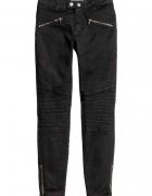 H&M spodnie rurki biker zip 36