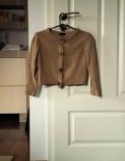 Brązowy musztardowy krótki crop top sweterek NEXT