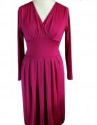 Różowa midi sukienka kopertowa L