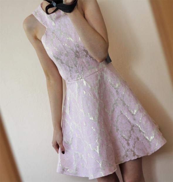 Suknie i sukienki różowa złota sukienka nowa xs ax paris s