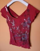 Nowa bordowa bluzka kwiaty jaskółki gole plecy