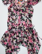 Zwiewna tunika bluzka w kwiaty z cekinami 34 36