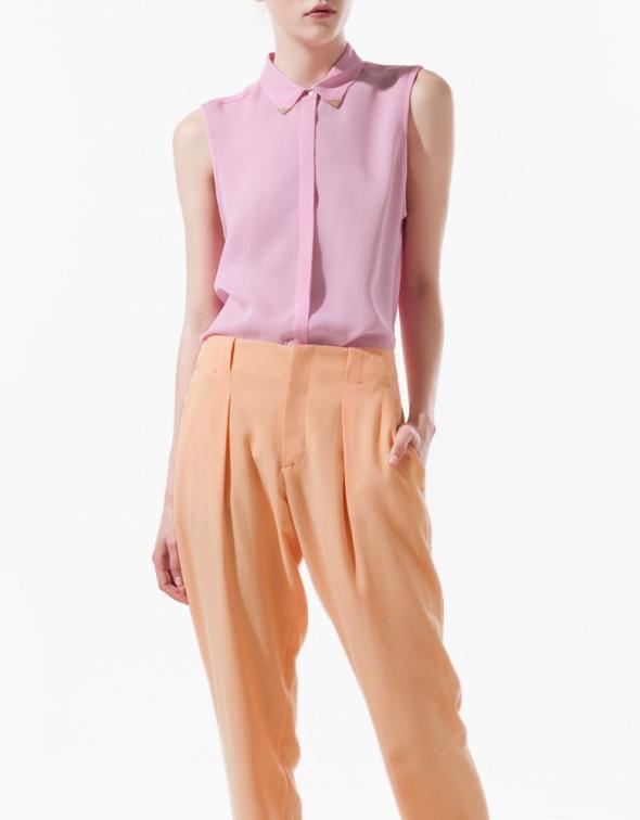 Ubrania ZARA bluzka mgielka koszula zlote ozdoby pudrowa