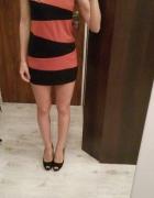 Sukienka pomarańczowo czarna