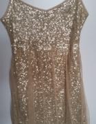 Złota sukienka w cekiny Bershka 38