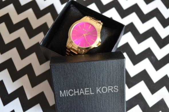 Zegarki złoty zegarek MK kors z różową tarczą Nowy
