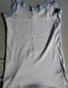 Koszulka na ramiączkach w paseczki biało błękitne