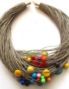 Naszyjnik mulitcolor z naturalnym sznurkiemWYMIANA