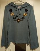 Sweter Orsay 38 kaptur kwiaty niebieski