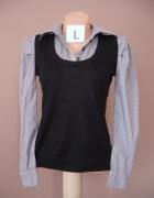 Czarny sweterek z koszulą NEXT S