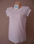 Biała koszulka w paski M