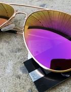 Okulary Aviator lustra złota oprawka