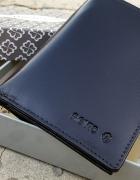 Nowy męski portfel skórzany Revio czarny pudełko