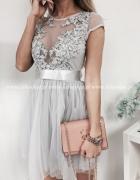 sukienka szara tiulowa koronkowa princess grey