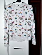 Szara bluza z kolorowymi nadrukami XS 34 H&M