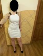 Biała sukienka 36 S 8 dopasowana z tyłu zamek elem