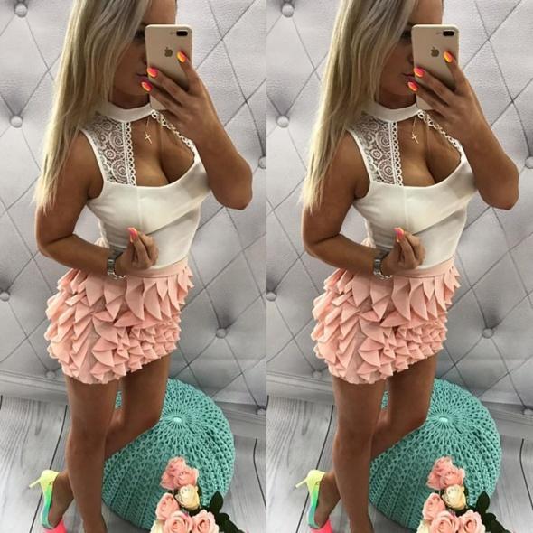 Spódnice Falbankowa spódniczka bluzeczka z koronka