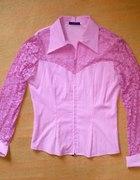 Różowa koszula z koronką M