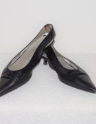 38 Włoskie buty Gucci skóra czarne sandały szpic m...