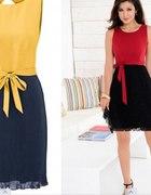 Sukienka w dwóch kolorach bordo czerń