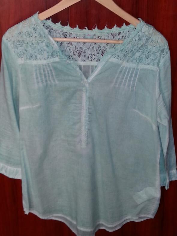 Koszule koszula h&m m l miętowa koronka ażur s olivier zar