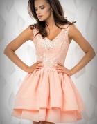 JOKASTYL brzoskwiniowa asymteryczna sukienka ML