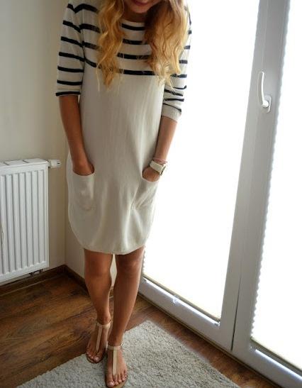 Codzienne Sukienka pasiak marine style