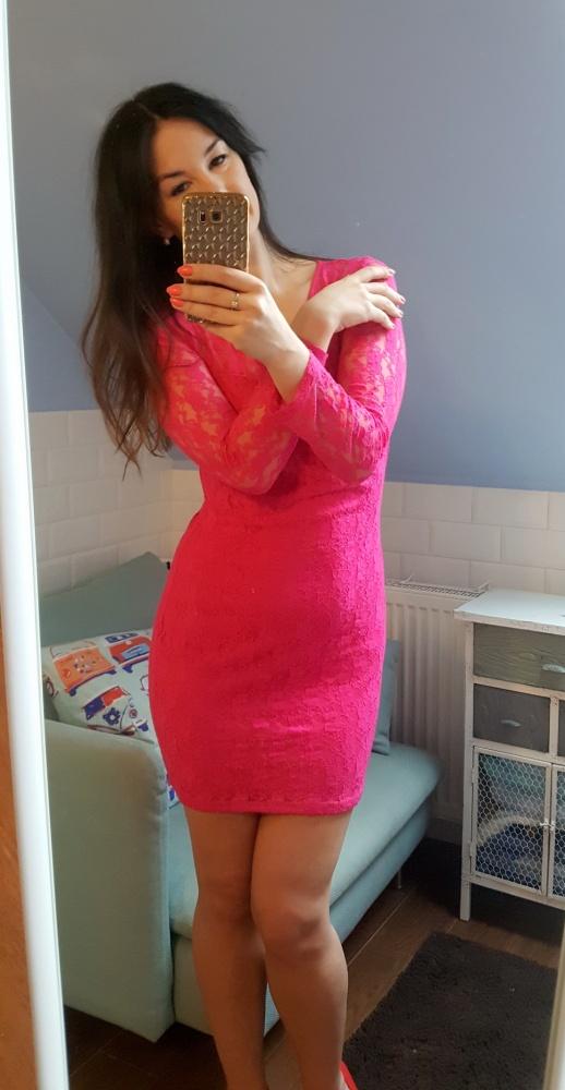 Suknie i sukienki Różowa koronkowa