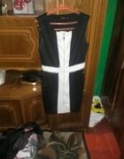 Sukienka bialo czarna zip