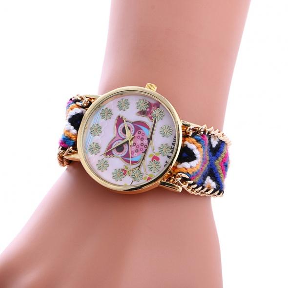 Zegarki Damski Zegarek Materiałowy Sowa