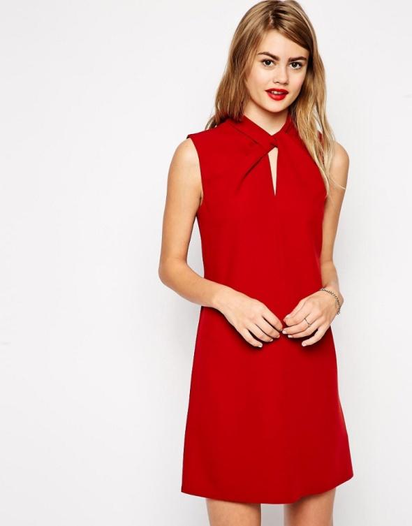 Suknie i sukienki Asos sukienka tuba czerwona elegancka retro mini