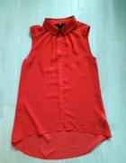 Czerwona koszula mgiełka 32 H&M long...