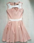 Łososiowa sukienka XS 34 mgiełka terranova