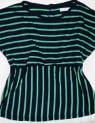 bluzka paski pasiak zielono czarna oversize boho