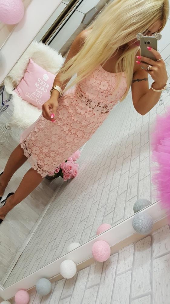Romantyczne beauty pink piękny komplet top spódnica koronka