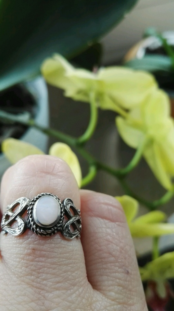 Pierścionki Piekny delikatny srebrny pierścionek masa perłowa srebro